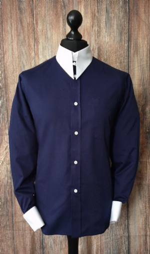 """Parker"" Navy & White Spearpoint Collar Shirt"
